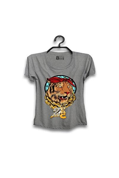 Sekiz.com Kadın 2pac Tiger Tasarımlı  Grimelanj T-shırt