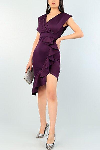 lovebox Kadın Mor Yırtmaç ve Volan Detay Abiye Elbise