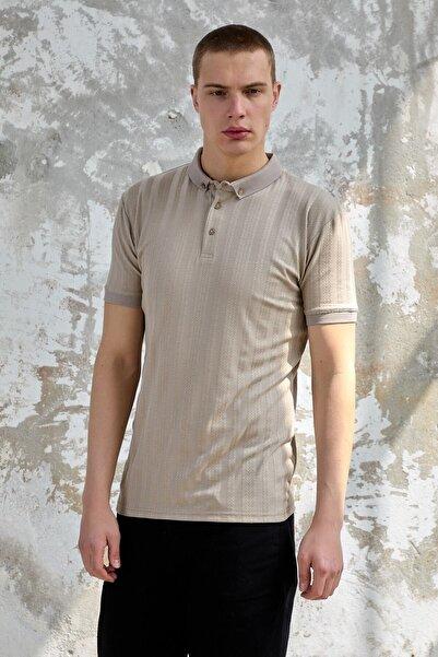 Karpefingo Erkek Dügmeli Jakarlı Polo Yaka Vizon Tshirt