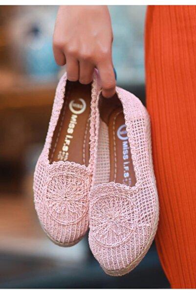 ESPARDİLE Kadın Pudra Örgülü Babet Ayakkabı