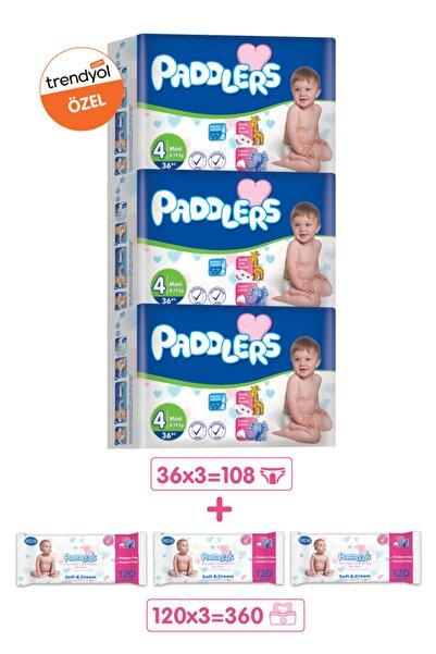 Paddlers Bebek Bezi 4 Numara Maxi 108 Adet (8-19 Kg) + 3x120'li Islak Havlu