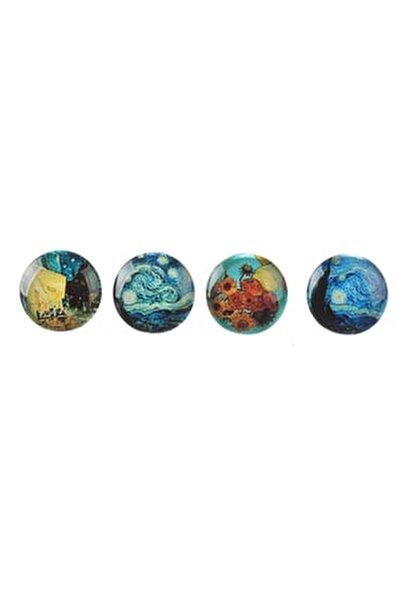 Pano Mıknatısı - Buzdolabı Cam Magnet Seti - 4 Adet Van Gogh