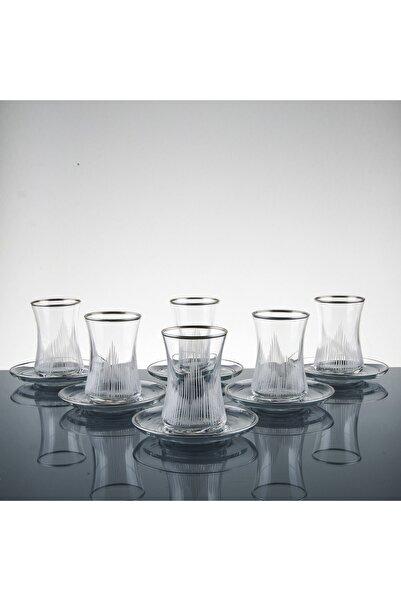 sudeka Alev Gümüş El Dekor Kesme Çay Seti 6 Kişilik 12 Parça
