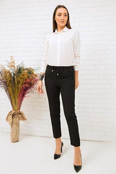 Moda Bu Kadın Siyah Beli Lastikli Kalem Pantolon