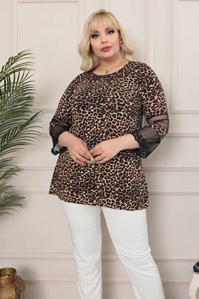 LİKRA Kadın Kahverengi Büyük Beden Leopar Desen Kolları Tül Detay Lı Viskon Bluz
