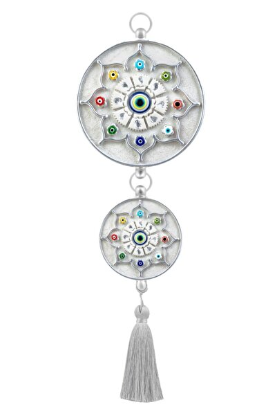 megatrend Gümüş İkili Dekoratif İşlemeli Cam Boncuklu Nazarlık
