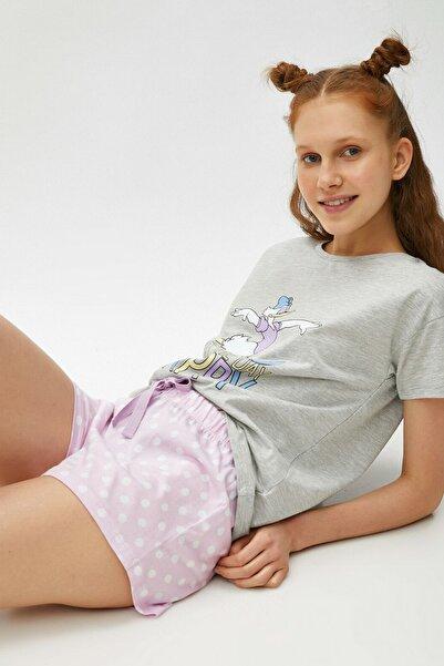 Koton Kadın Lila Desenli Pijama Takımı 1YLK79346MK
