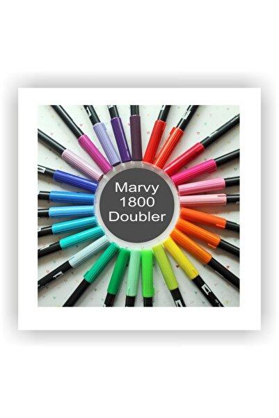 Marvy 1800 Doubler Çift Uçlu Bir Tarafı Fırça Kalem Dark Grey 21