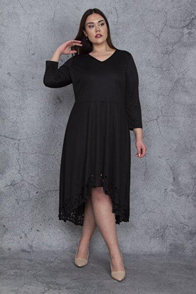 Şans Kadın Siyah Etek Ucu Lazer Kesim Detaylı Elbise 65N23916