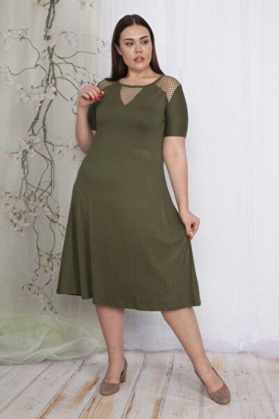 Şans Kadın Haki File Detaylı Viskon Elbise 65N24063