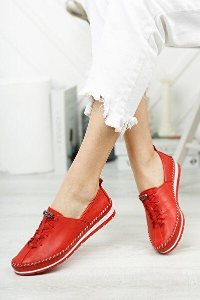 Deripabuc Hakiki Deri Kırmızı Kadın Deri Babet Dp16-0051