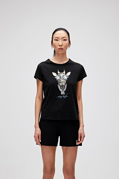 Bad Bear Kadın Siyah  T-Shirt Stay Hıgh Tee