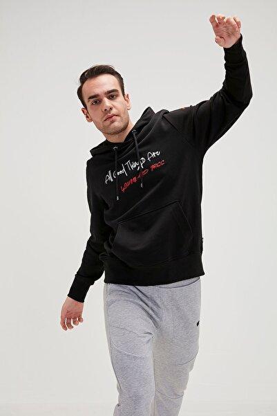 Bad Bear Erkek Siyah Script Kapüşonlu Sweatshirt