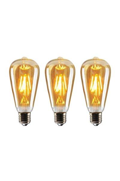 EDİSON St64 Filament 4w Dimli Rustik Led Ampul 3'lü Paket Dekoratif Vintage Aydınlatma Amber Rengi