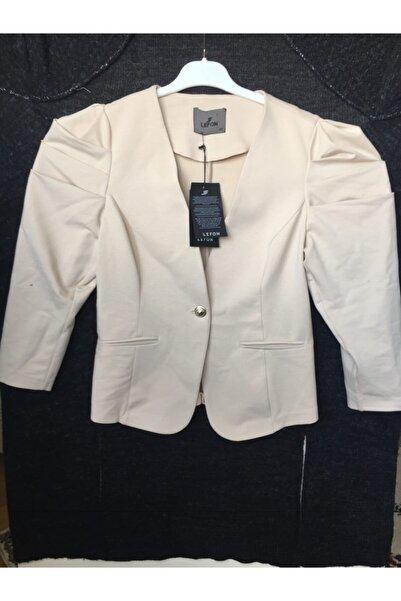 Lefon Kadın Krem Penye Blazer Ceket