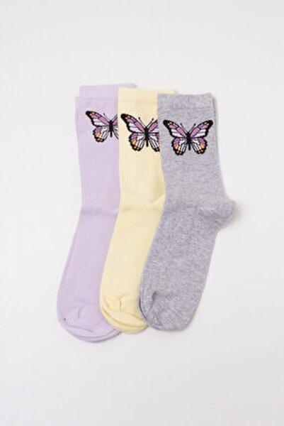 Kadın Gri Step Çorap 3'lü Paket