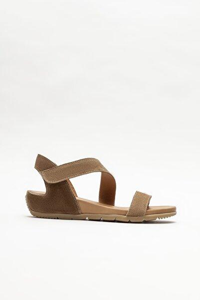Elle Shoes Kadın Taba Deri Dolgu Topuklu Sandalet