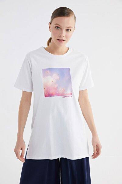 Trendyol Modest Beyaz Baskılı Kısa Kollu Örme Tesettür T-shirt TCTSS21TN0277