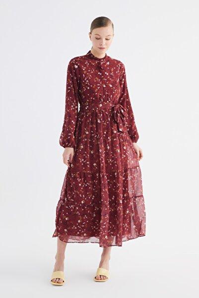 Trendyol Modest Kırmızı Çiçek Desen Şifon Tesettür Elbise TCTSS21EL3346
