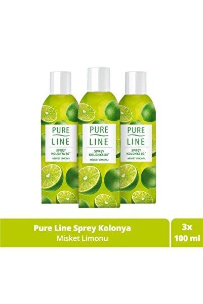 Pure Line Misket Limonu 80 ° Sprey Kolonya 100 Ml 3 Adet