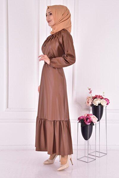 ModaMerve Kadın Taba Deri Elbise Ayd24000