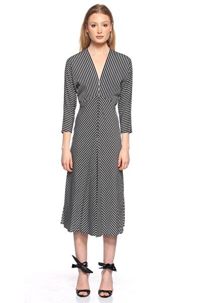 Maje Siyah Beyaz Çizgili Midi Elbise