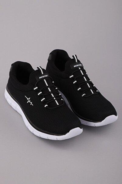 Arlin Erkek Fileli Bağcık Görünümlü Esnek Hafif Yapılı Yan Kalp Ritim Baskılı Siyah-beyaz Spor Ayakkabı