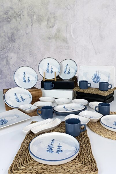 Keramika Blue Magic  Stackable Kahvaltı Takımı 26 Parça 6 Kişilik