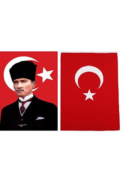 bayrakal Kalpaklı Atatürk Ve Türk Bayrağı 100150cm.