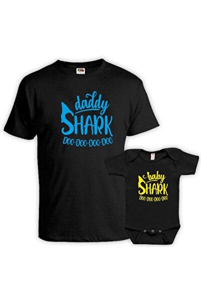 venüsdijital Daddy Baby Shark Tasarım Siyah Tshirt Zıbın (baba Oğul Kombin Yapılabilir Fiyatları Ayrı Ayrıdır)