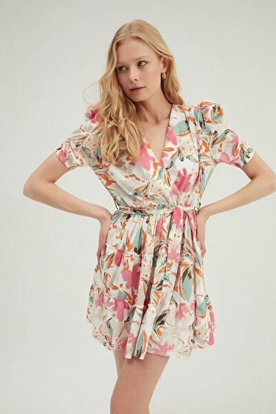 Quzu Kadın Mint Desenli Kruvaze Bağlamalı Elbise