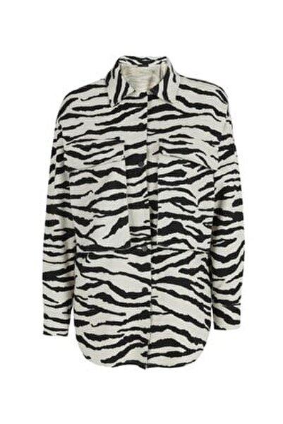 Zebra Desenli Gabardin Gömlek Siyah
