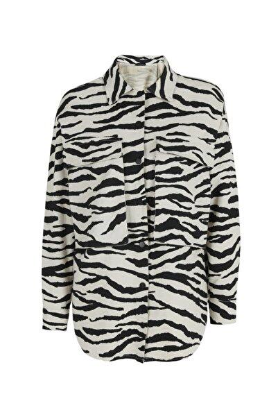 Quzu Zebra Desenli Gabardin Gömlek Siyah