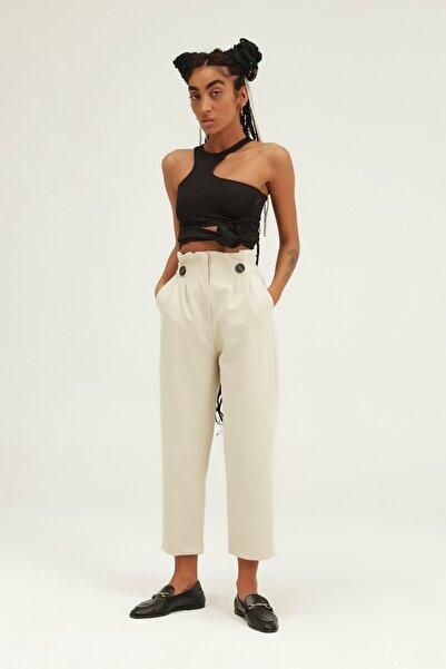 Quzu Kadın Düğme Aksesuarlı Yüksek Bel Pantolon Taş