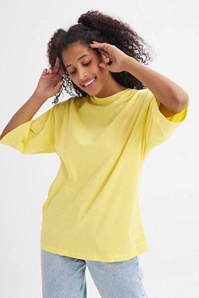 Quzu Truvakar Kol Basic Oversize Tişört Sarı
