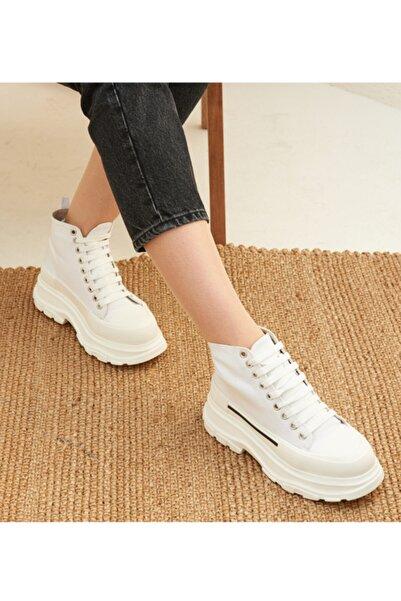 derinet Kadın Beyaz Bilekli Yüksek Tabanlı Sneakers