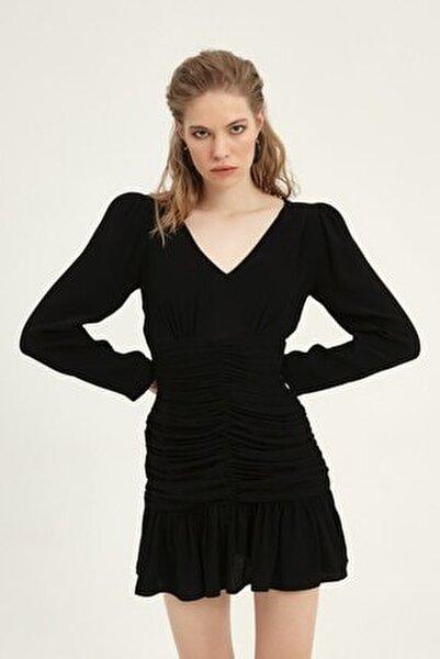 Kadın Balon Kol Gipeli Elbise Siyah