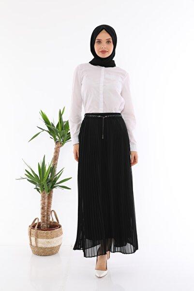 Maxaliz Moda Kadın Siyah Kemerli Pliseli Astarlı Şifon Etek