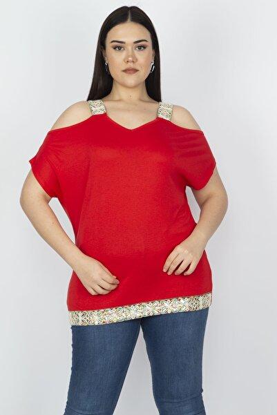 Şans Kadın Kırmızı Omuz Dekolteli Askı Ve Etek Ucu Payet Dantel Detaylı Bluz