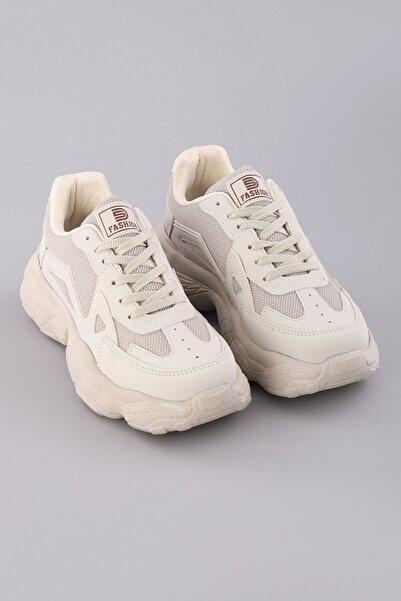 Arlin Kadın Bağcıklı Esnek Konforlu Hafif File Detaylı Yüksek Taban Bej Spor Ayakkabı
