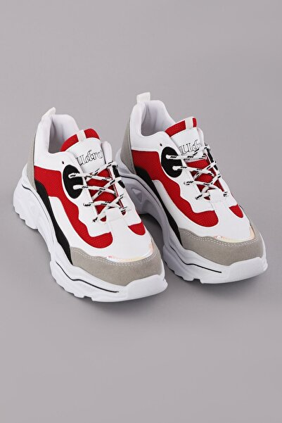 Arlin Kadın File Detaylı Esnek Konforlu Yüksek Taban Kırmızı Spor Ayakkabı