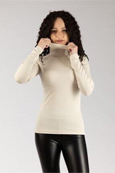 MaviMoure Kadın Ekru Uzun Kollu Boğazlı Likralı Penye Body