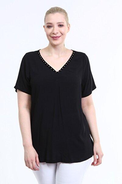 MYLİNE Kadın Siyah V Yaka Şerit Detay Bluz
