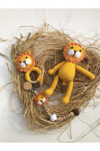 Ececraft Sarı Aslan Oyuncak Seti 27 cm Yıkanabilir Organik Doğal El Örgüsü Oyuncak