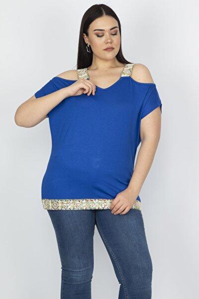 Şans Kadın Saks Omuz Dekolteli Askı Ve Etek Ucu Payet Dantel Detaylı Bluz