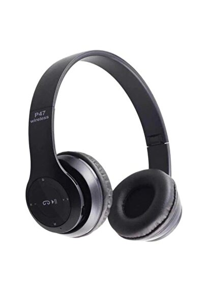 DarkSent P47 Wireless Bluetooth 5.0 Kulaklık Extra Bass Radyolu Kulaklık Siyah