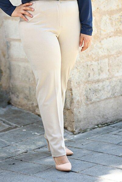 Nail Giyim Kadın Krem Yüksek Bel Yanları Lastikli Pantolon
