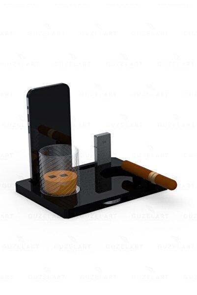 GüzelArt Puro Standı ( Küllük , Bardak Altlığı , Puro Makası , Çakmaklık , Telefon Stand )