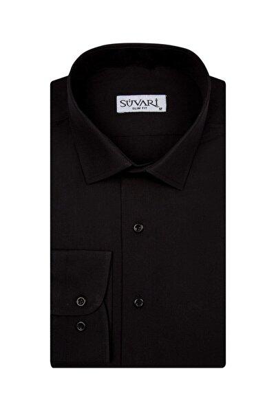 SÜVARİ Slim Fit Siyah Düz Erkek Gömlek