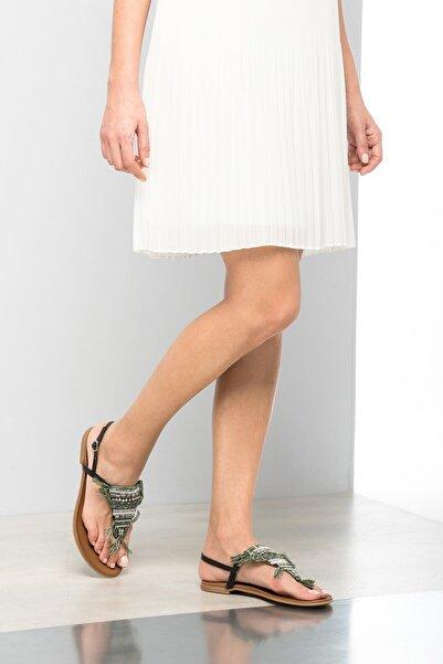 İnci Hakiki Deri Siyah Kadın Sandalet 120120084010